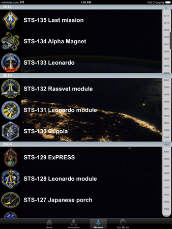 AstroApp Space Shuttle Crew