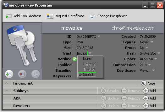 Set Trust to Implicit for Your Private Keys